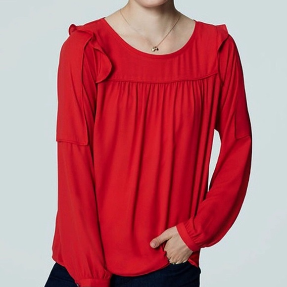 LOFT Tops - Red loft ruffle blouse